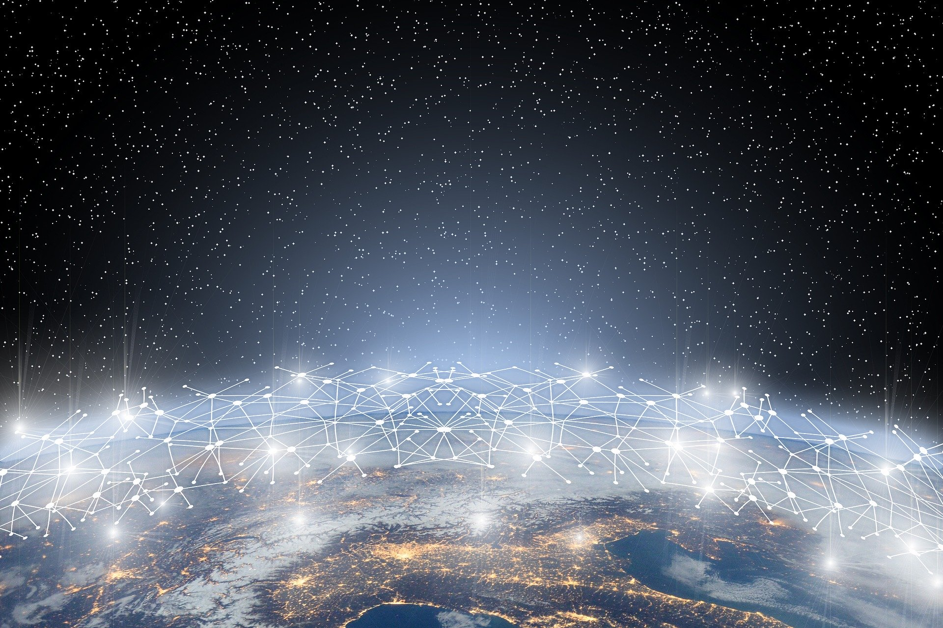 Image of earth and its digital network